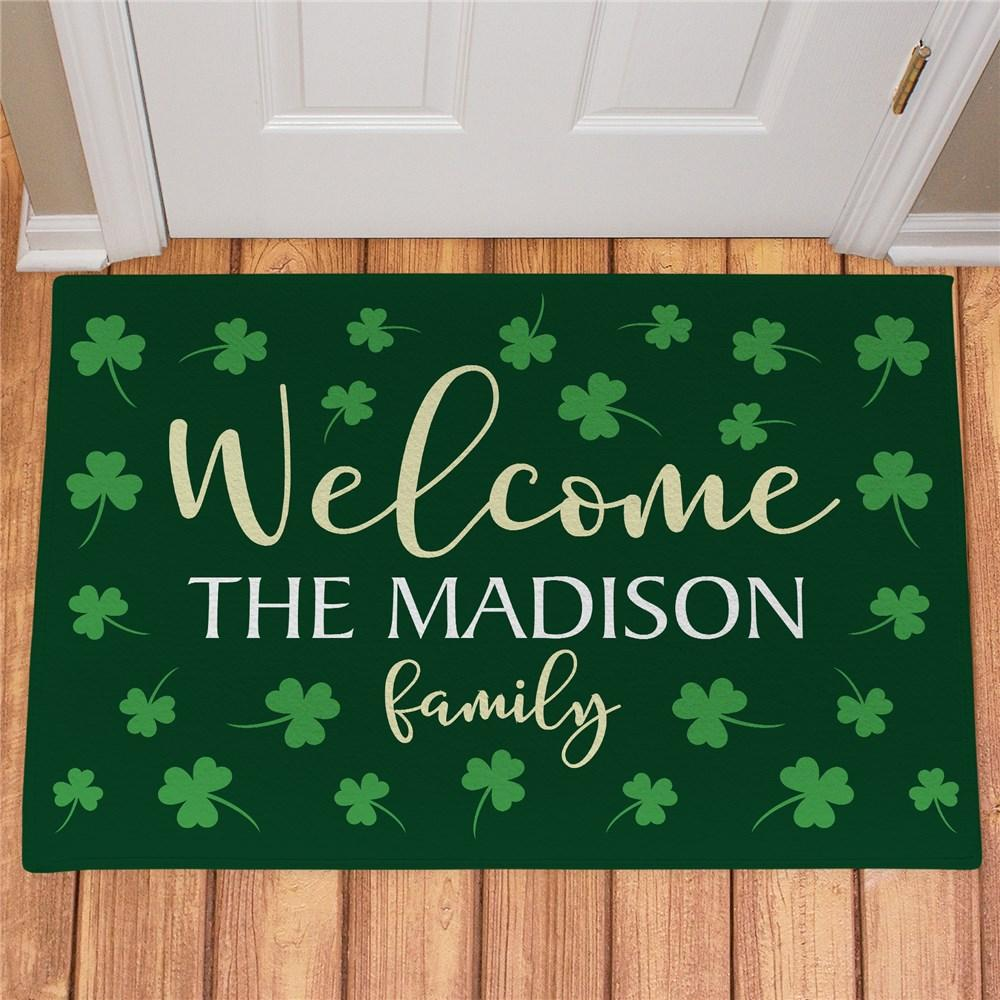 Personalized Welcome Shamrocks Doormat