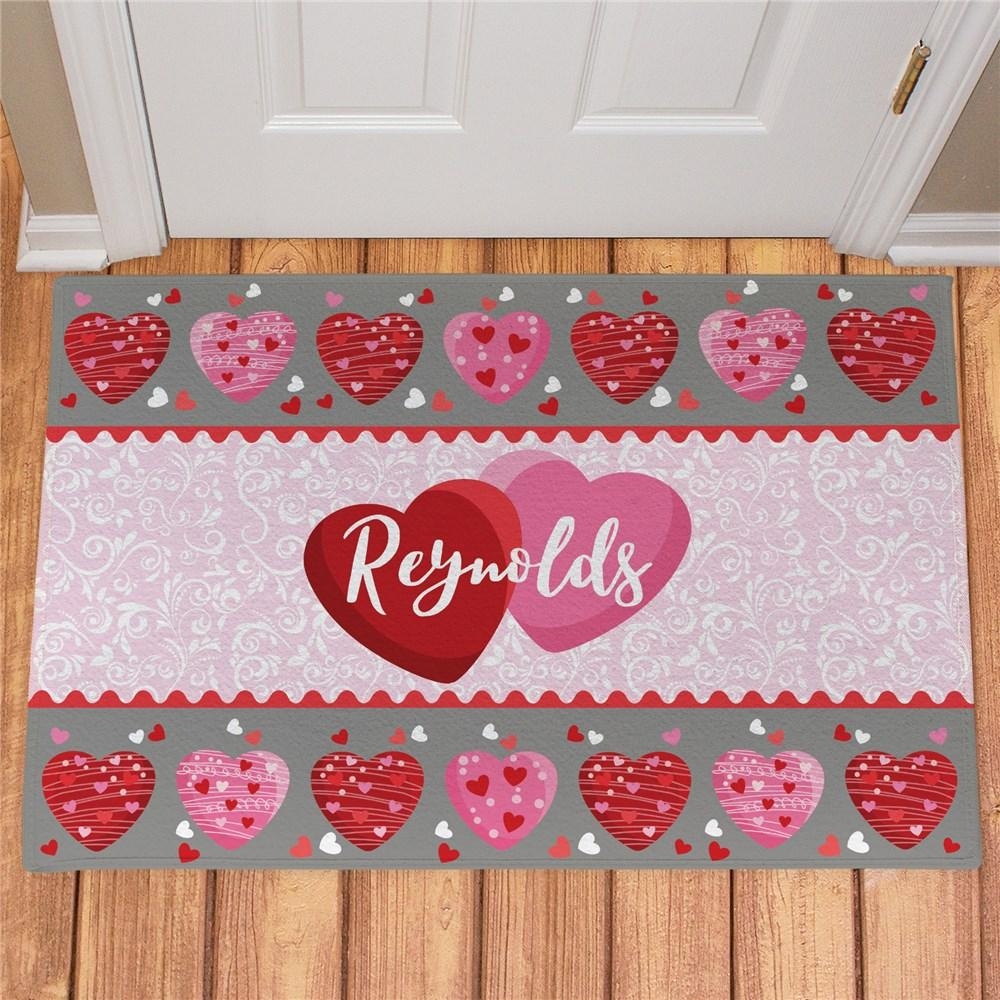 Personalized Family Hearts Doormat - Valentine's Day Gift