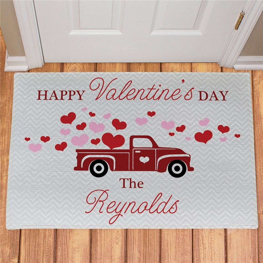 Personalized Happy Valentines Day Truck Doormat - Valentine's Day Gift