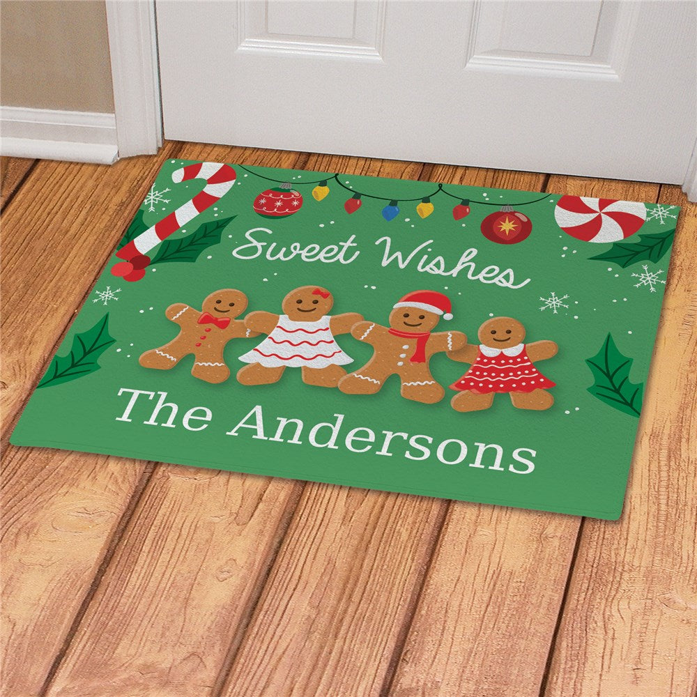 Personalized Sweet Wishes Gingerbread Christmas Doormat