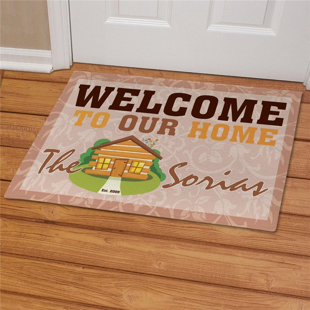 Personalized Log Cabin Welcome Doormat