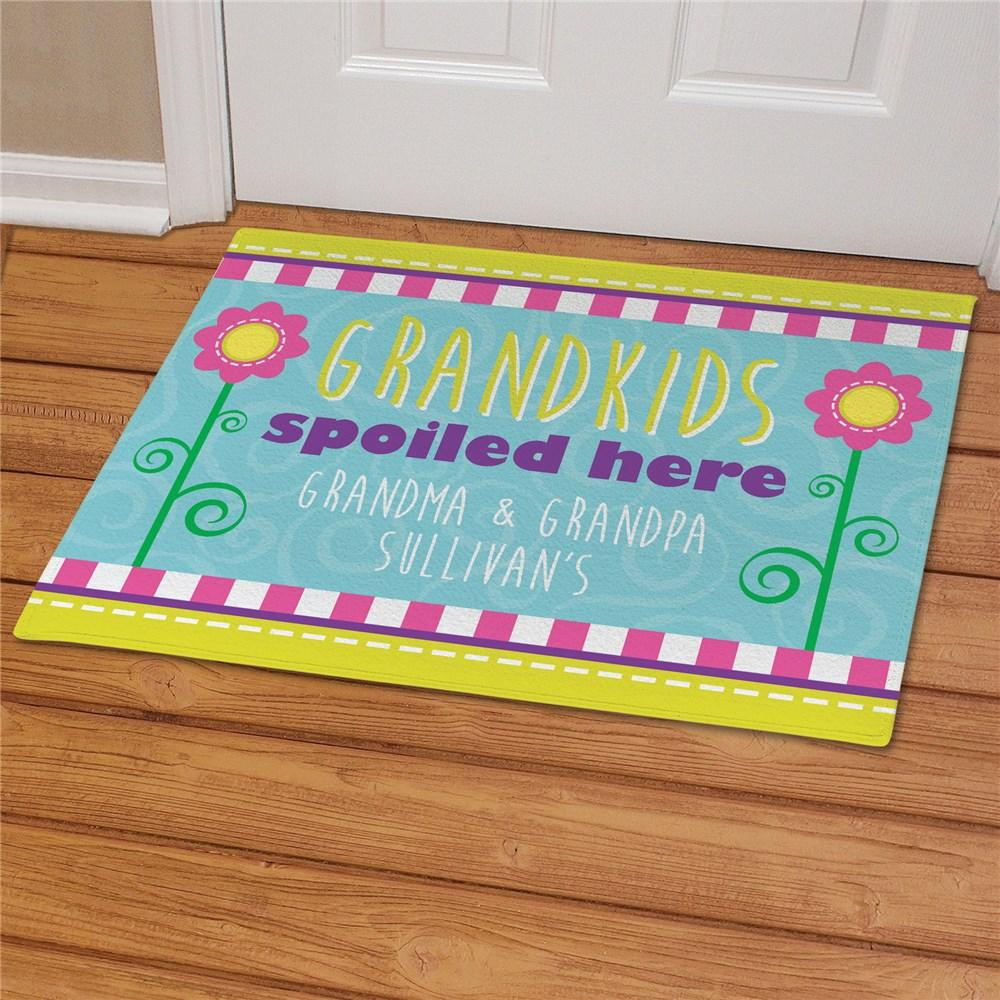 Personalized Grandparents Doormat - Grandchildren Spoiled Here