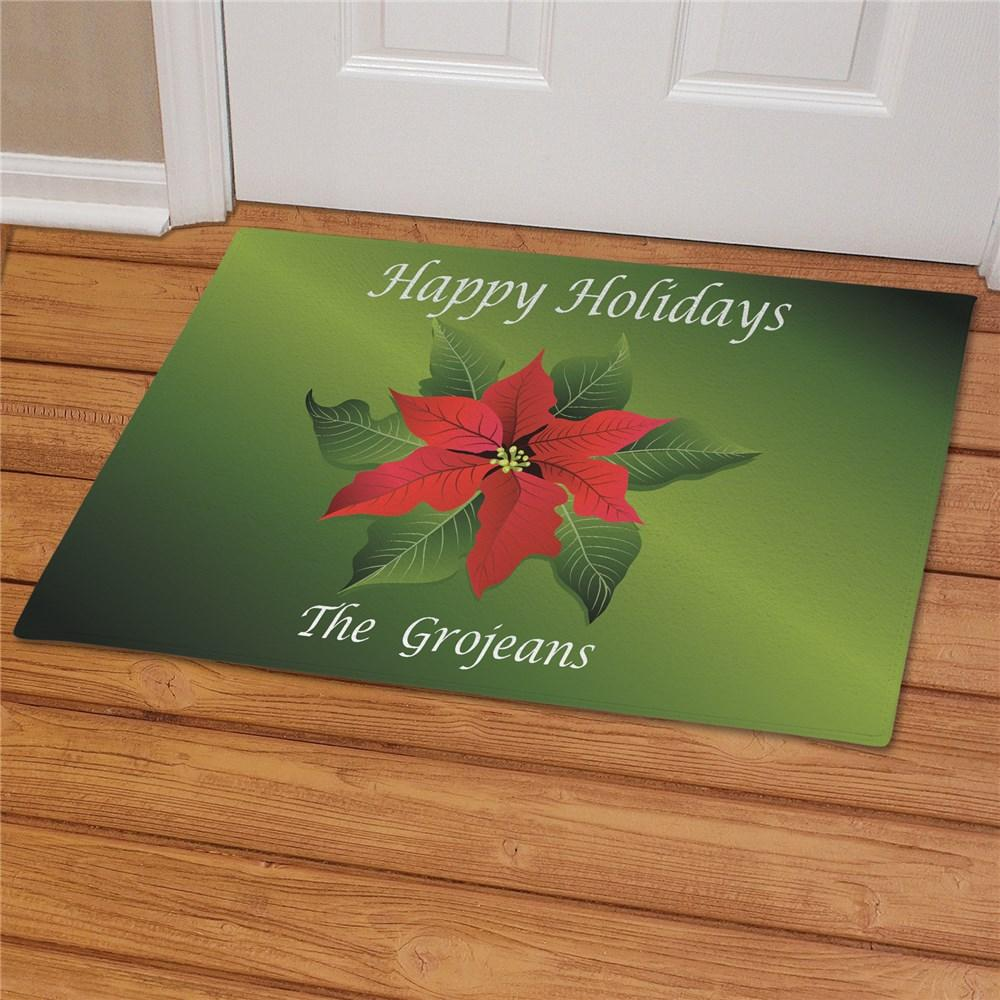 Personalized Poinsettia Doormat