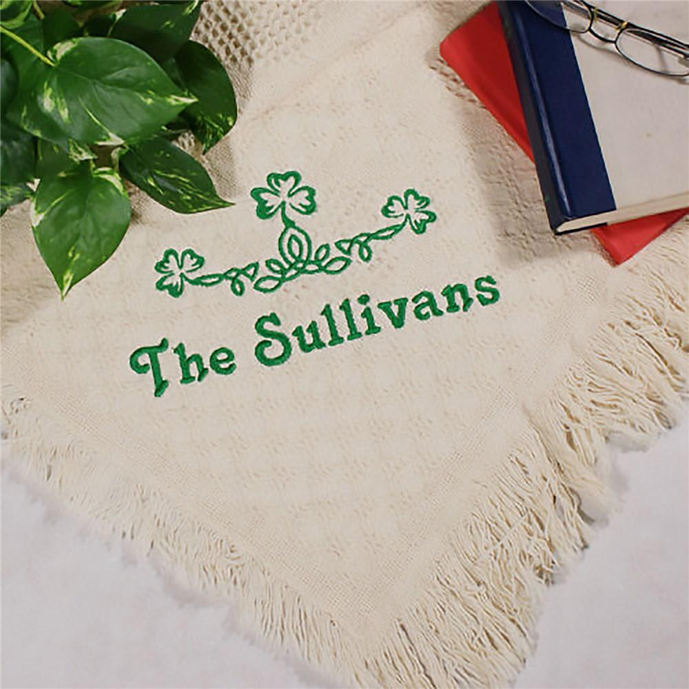 Personalized Shamrock Green Irish Afghan