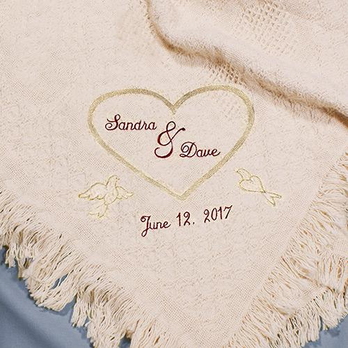 Personalized Heart Embroidered Afghan