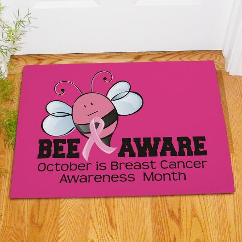 Personalized Bee Aware Breast Cancer Doormat