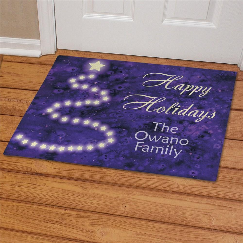 Personalized Purple Christmas Doormat