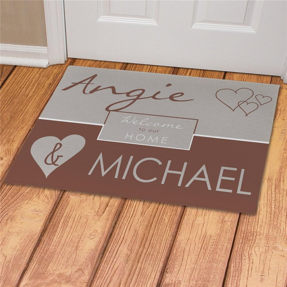 Personalized Custom Couple's Love Welcome Mat - Valentine's Day Gift