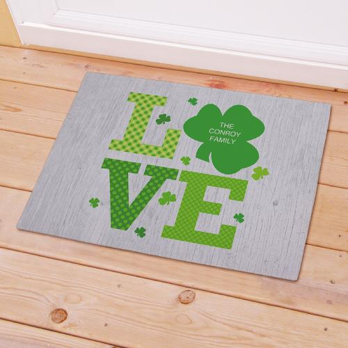 Personalized Shamrock Love Welcome Doormat