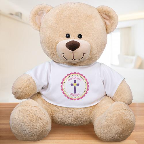 Personalized God Bless Teddy Bear - Pink Design
