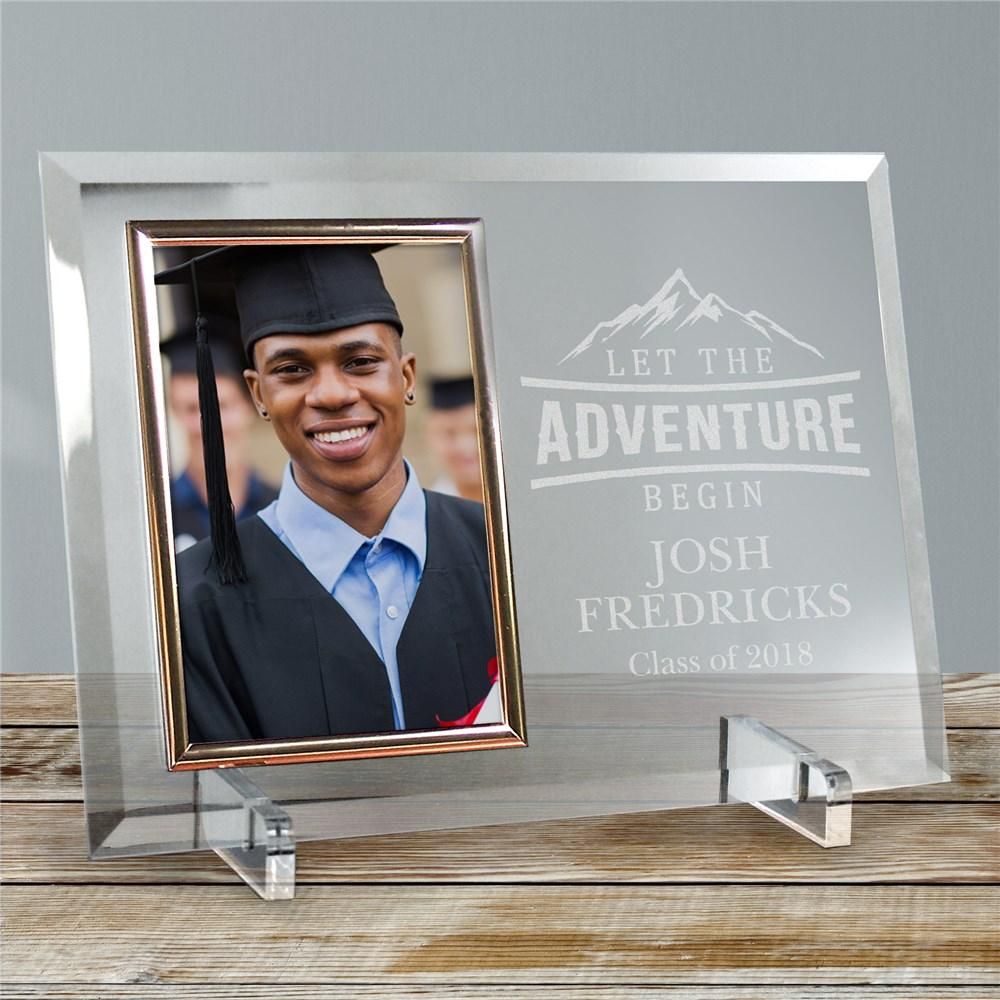 Personalized Engraved Let The Adventure Begin Glass Beveled Frame