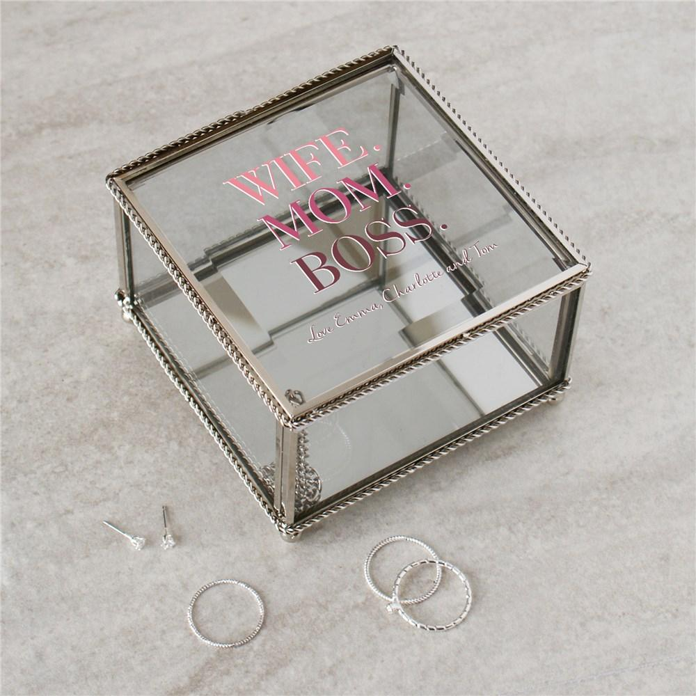 Personalized Wife Mom Boss Jewelry Box