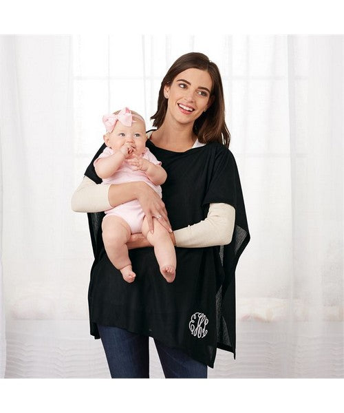 Monogrammed Nursing Poncho Blanket - Gray & Black by Mudpie