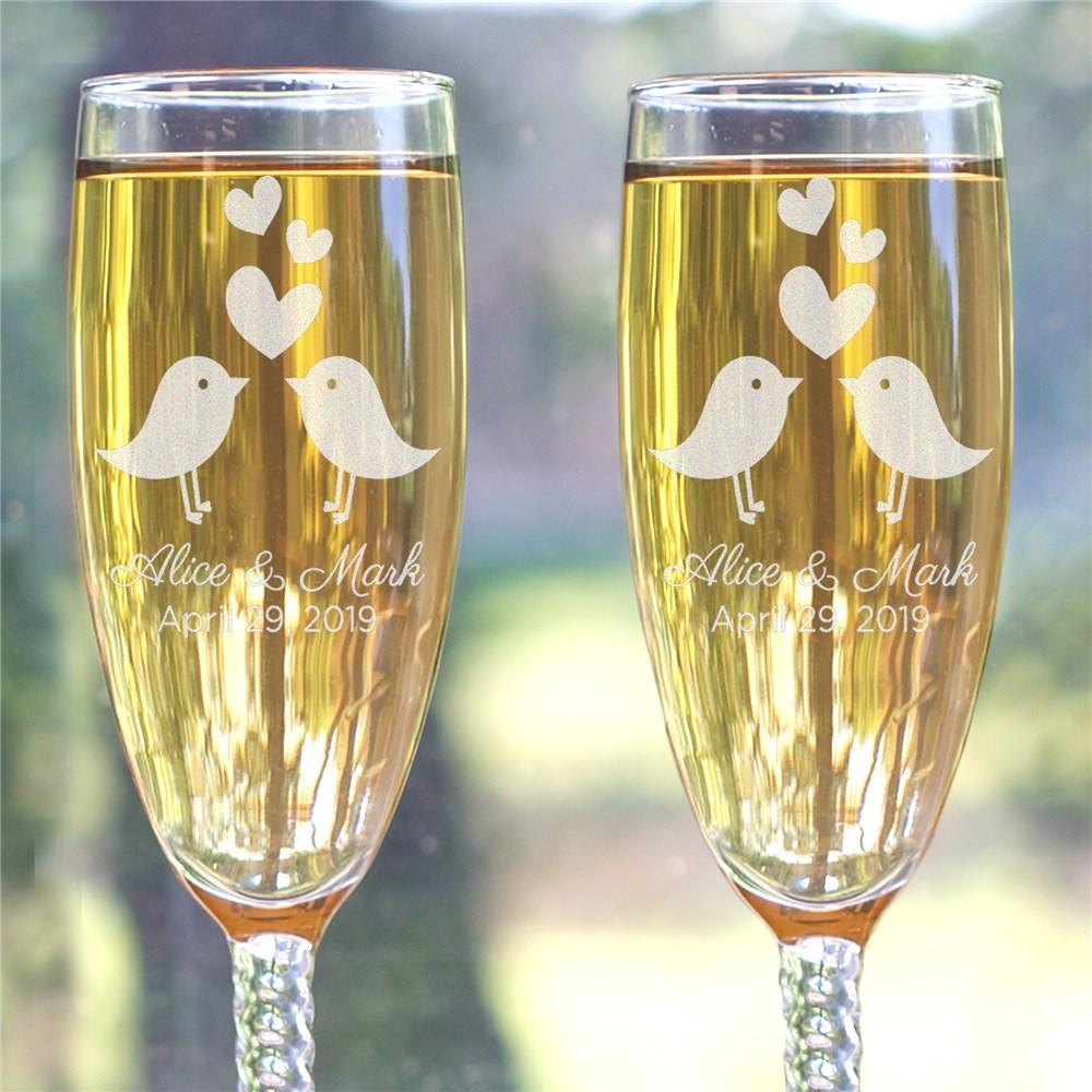 Personalized Love Birds Twisted stem Flutes - Valentine's Day Gift