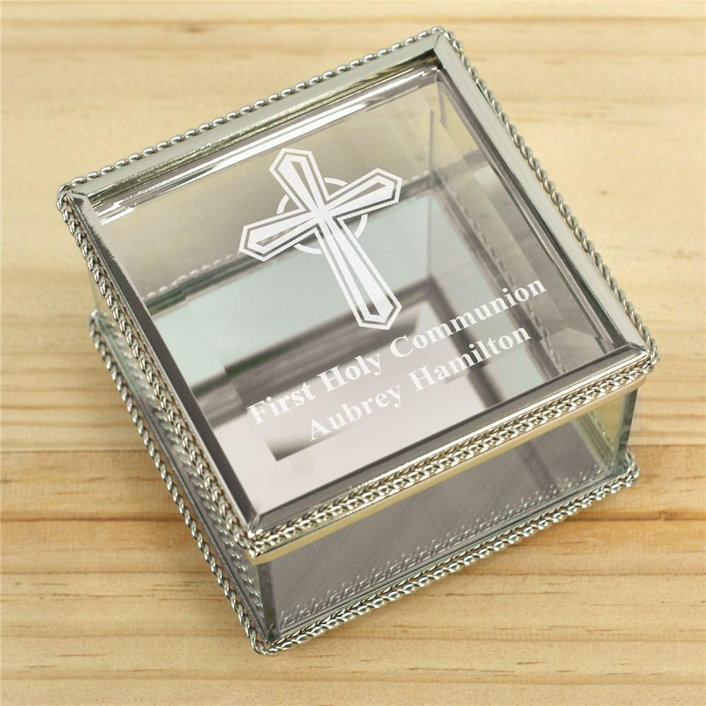 Personalized Engraved Cross First Communion Glass Jewelry Box