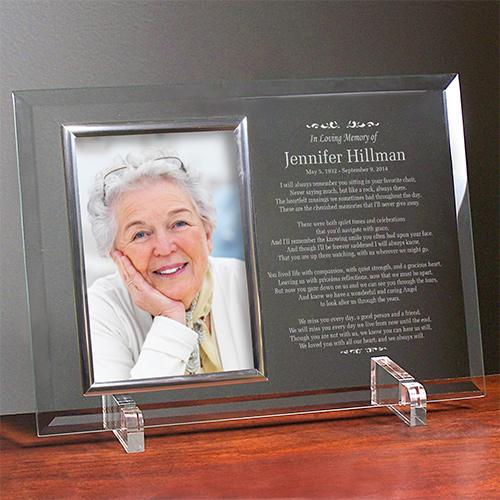 Personalized In Loving Memory Personalized Beveled Glass Picture Frame