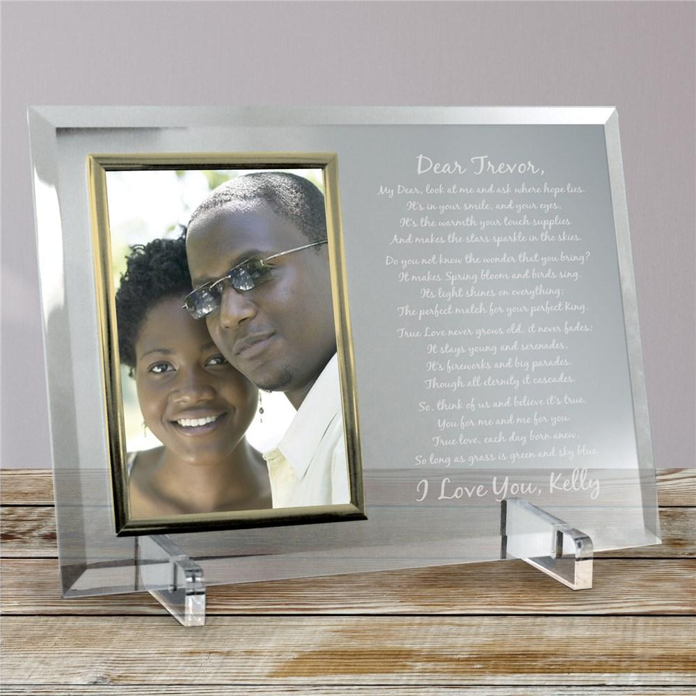 Personalized Engraved Love Poem Glass Frame - Valentine's Day Gift