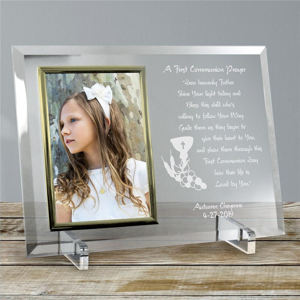 Personalized Engraved First Communion Glass Picture Frame