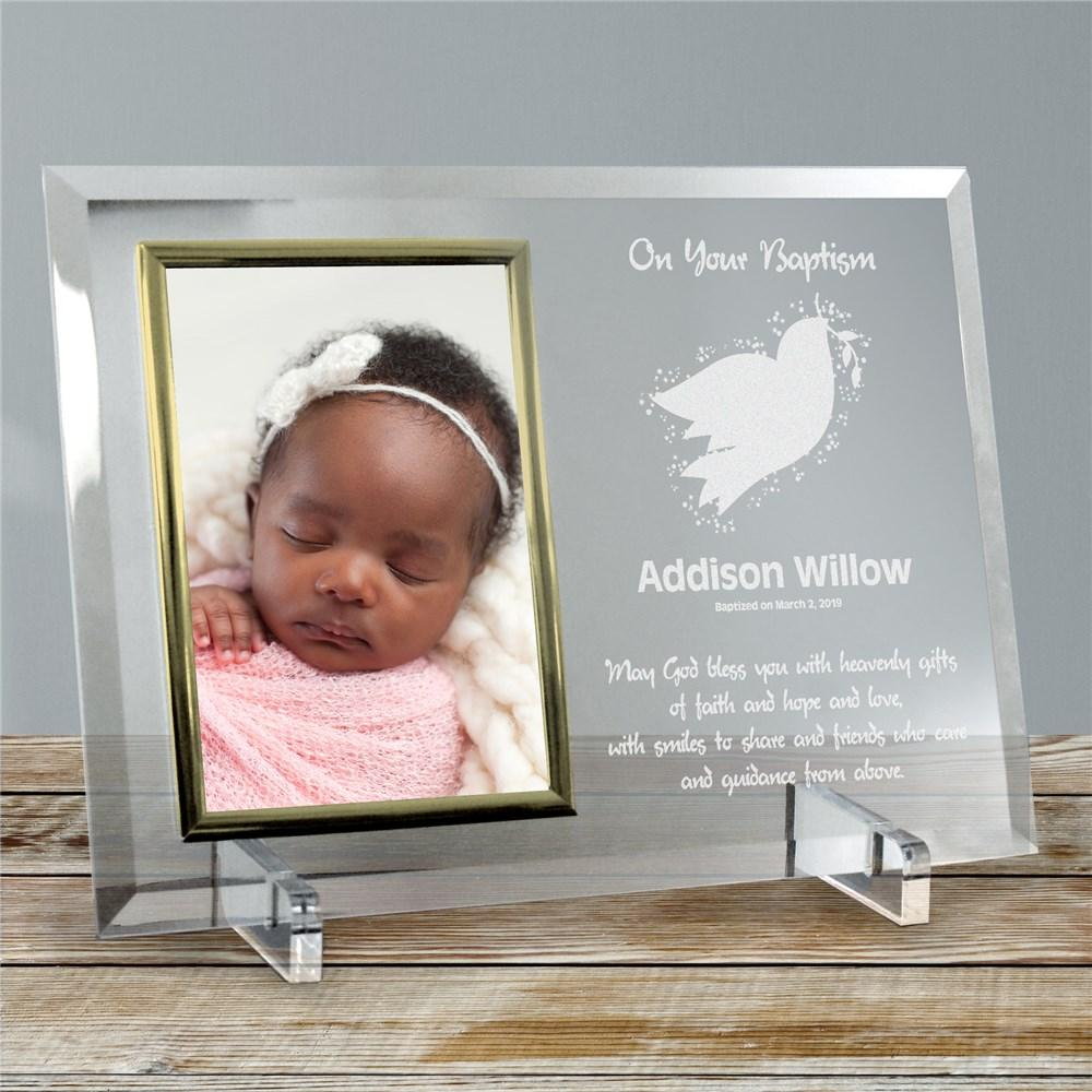 Personalized For My Baptism Beveled Glass Picture Frame