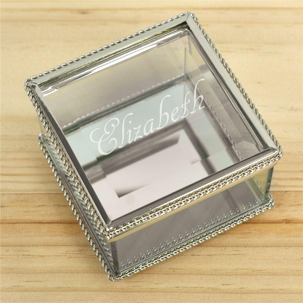 Personalized Glass Jewelry Box Engraved With Name
