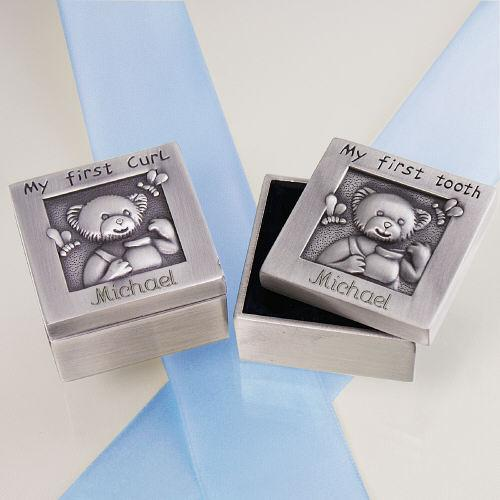 Personalized Baby First Curl And Tooth Silver Box Set - Engraved