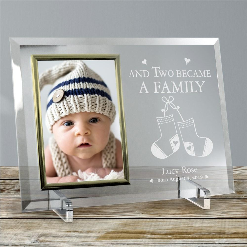 Personalized Became A Family New Baby Beveled Glass Picture Frame