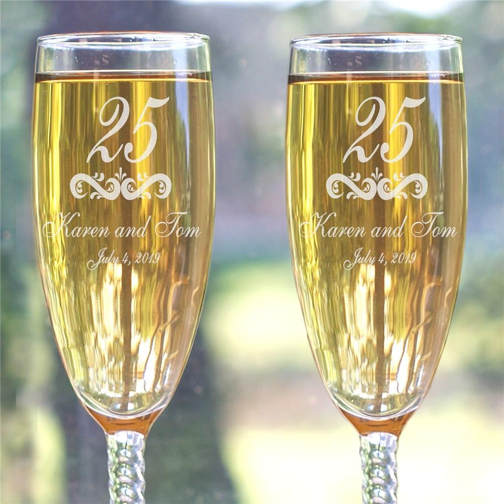 Personalized Our Anniversary Toasting Flutes