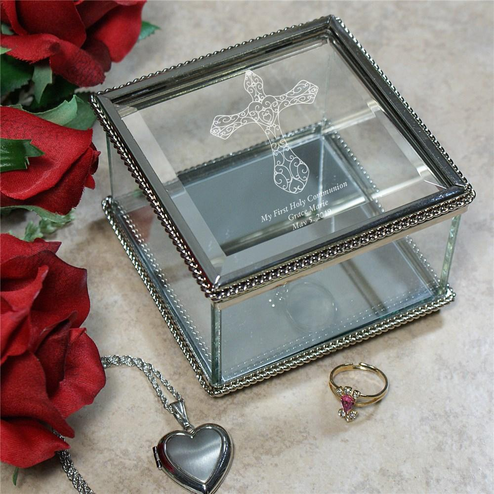 Personalized Engraved Cross Glass Jewelry Box