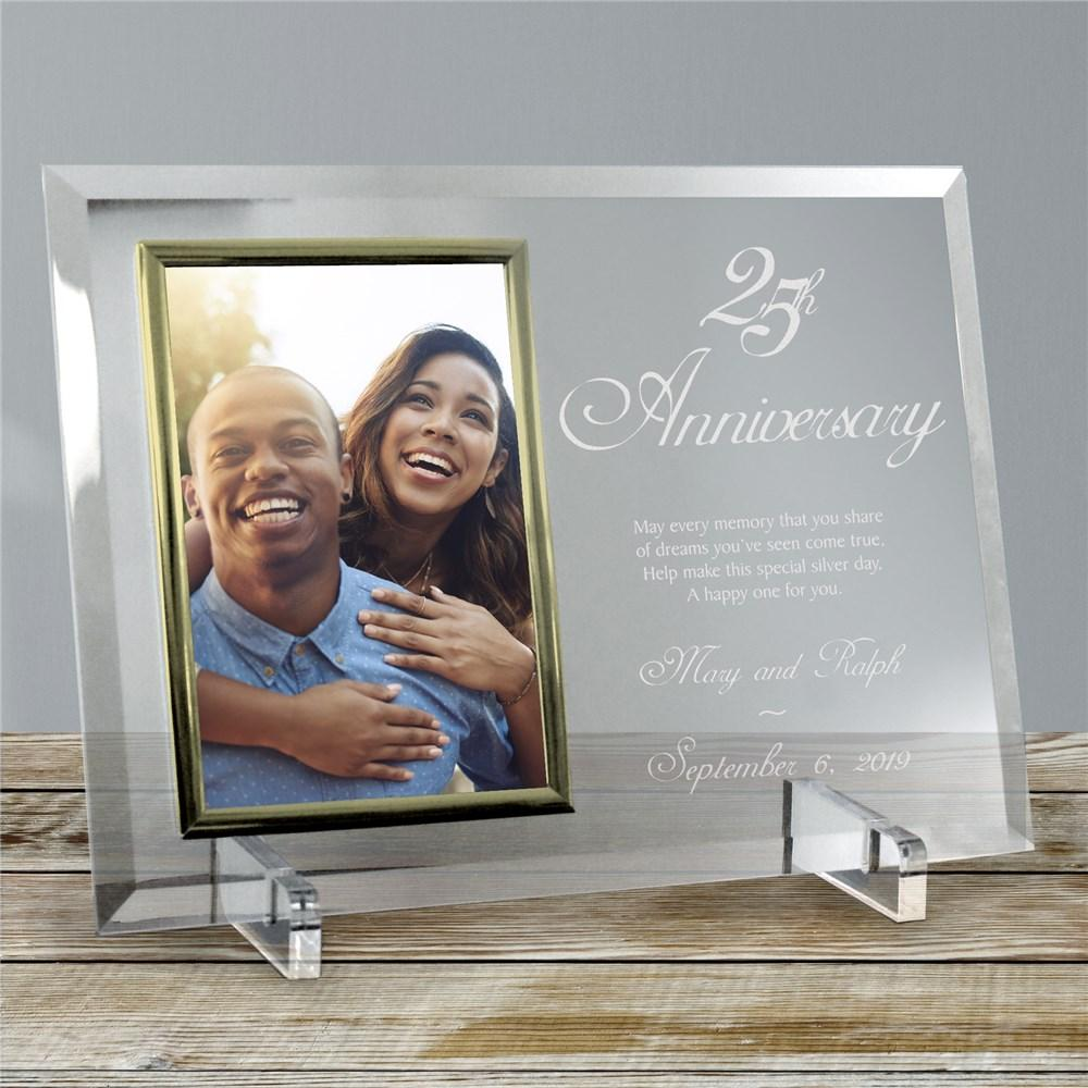 Personalized 25th Anniversary Beveled Glass Picture Frame
