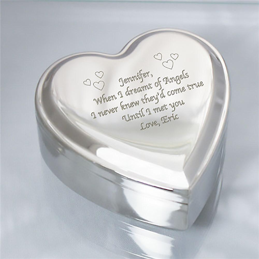 Personalized Engraved Silver Heart Jewelry Box - Valentine's Day Gift