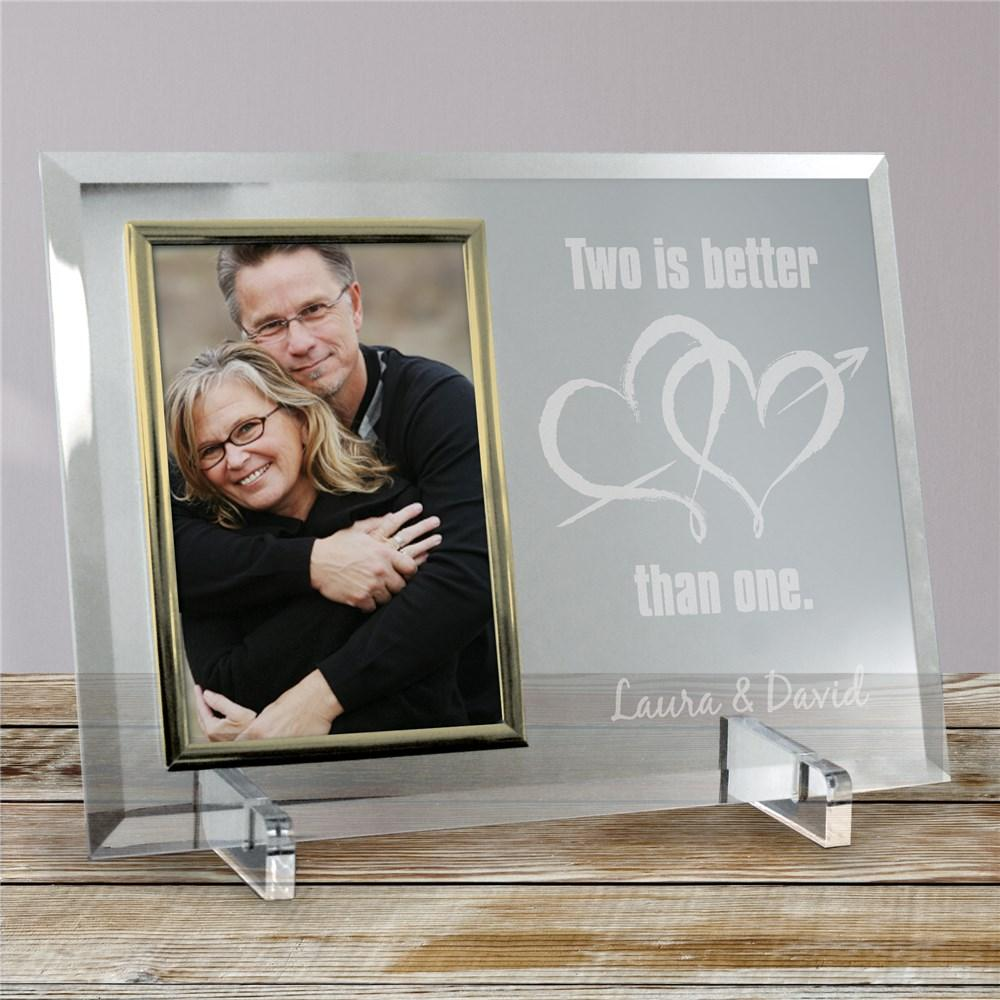 Personalized Two Is Better Than One Beveled Glass Picture Frame