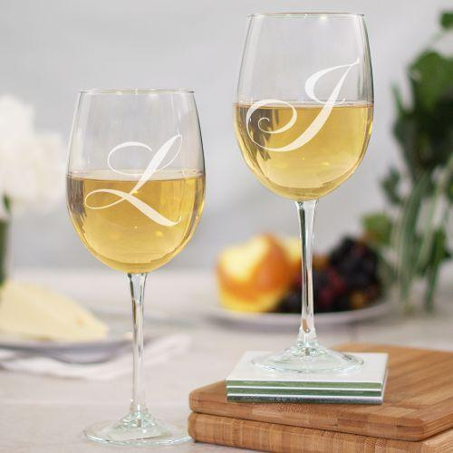 Personalized Engraved Couples Initials Wine Goblet Set