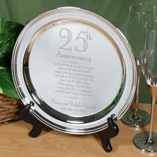Personalized Engraved 25th Wedding Anniversary Silver Plate