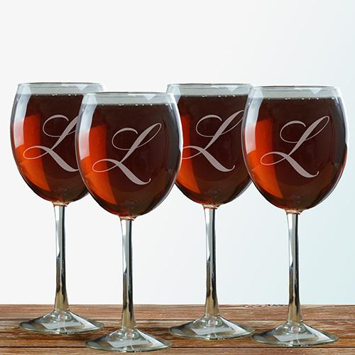 Personalized Engraved Initial Wine Glass Set of 4