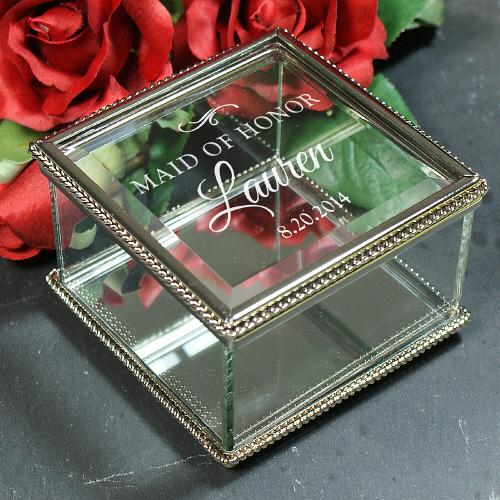 Personalized Engraved Wedding Party Jewelry Box