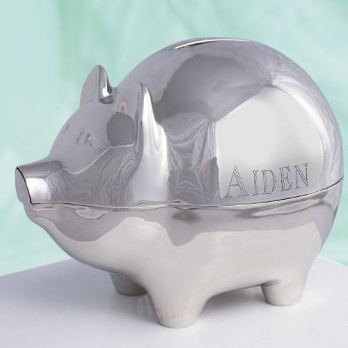 Personalized Name Silver Piggy Bank