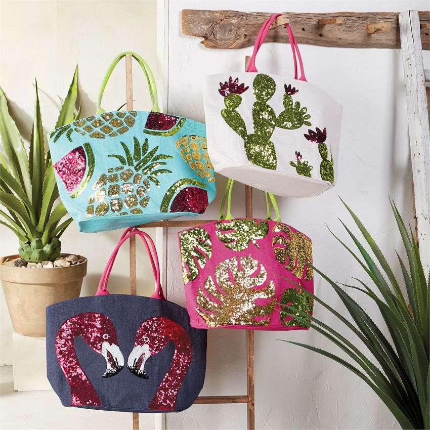 Summer Dazzle Sequin Tote Bags by Mudpie – Gifts Happen Here c0c5713e0dc1e