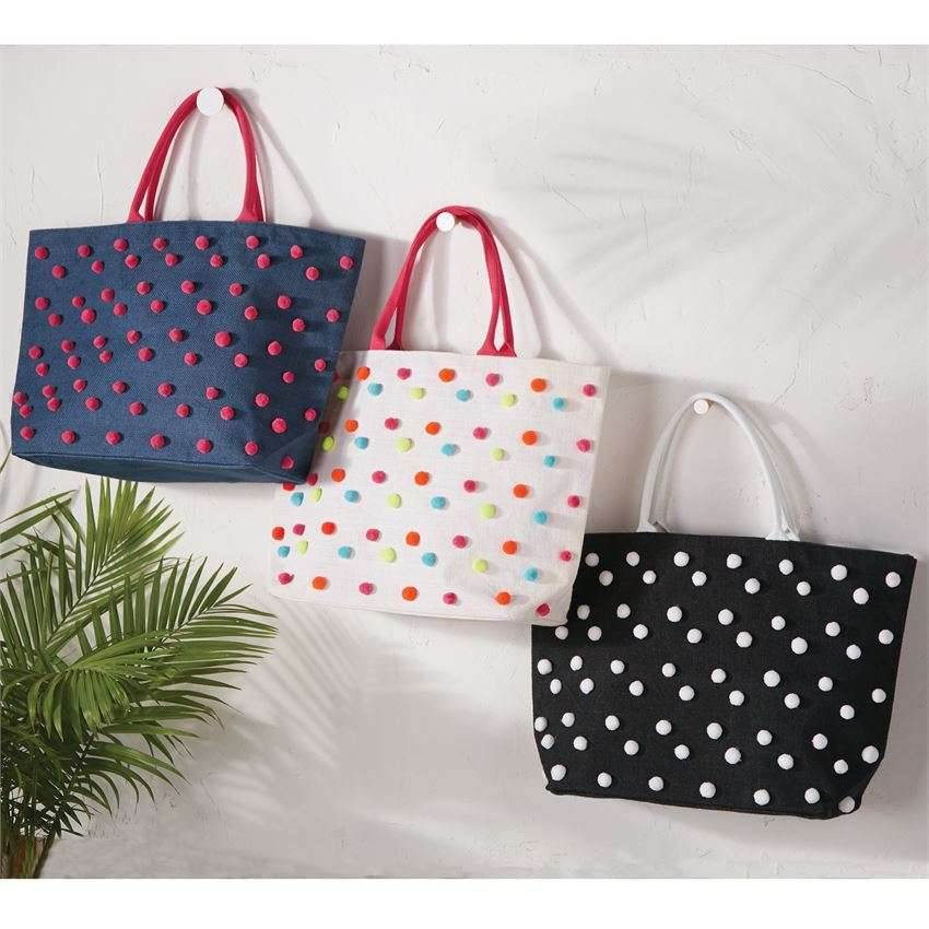 Confetti Pom Pom Jute Tote & Carry Case by Mud Pie
