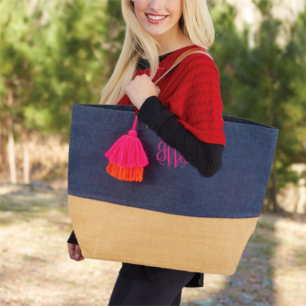 Personalized Color Pop Jute Tote Bag by Mudpie