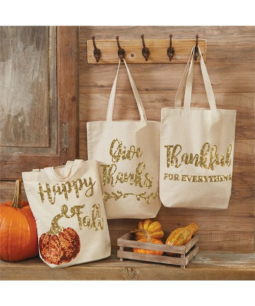 Happy Fall - Give Thanks Sequin Canvas Tote Bags by Mudpie