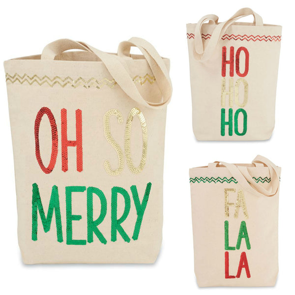 Christmas Sequin & Canvas Tote Bags by Mudpie