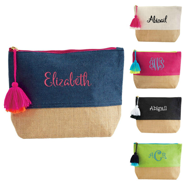 Personalized Color Pop Jute Cosmetic Bag by Mudpie