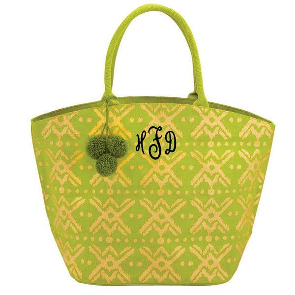 personalized shimmer juco beach bag by mudpie