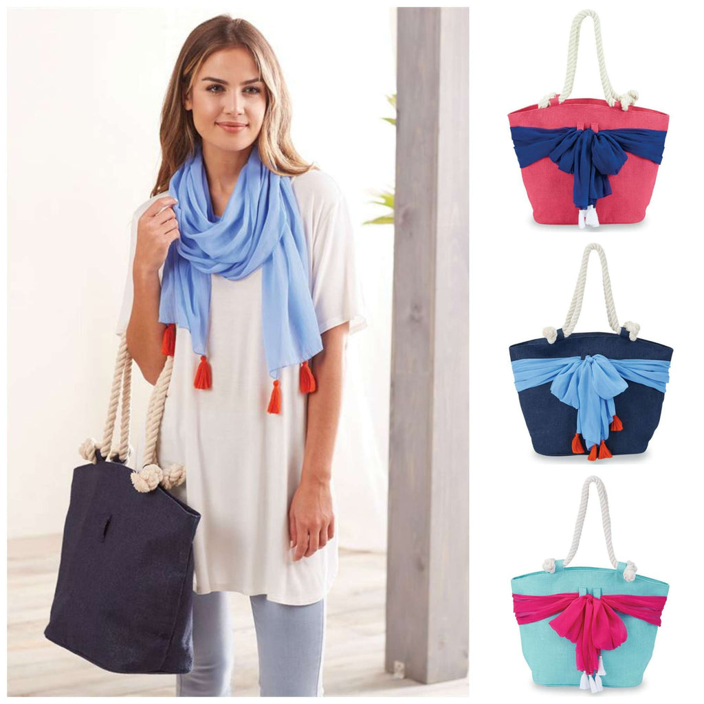 Tassel Sarong Along Beach Bag by Mudpie