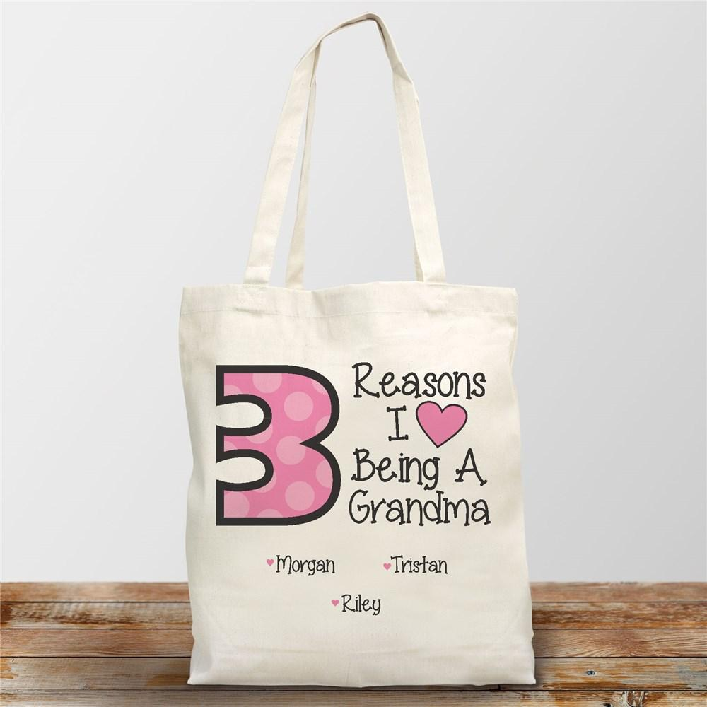 Personalized I Love Being A Grandma Canvas Tote Bag
