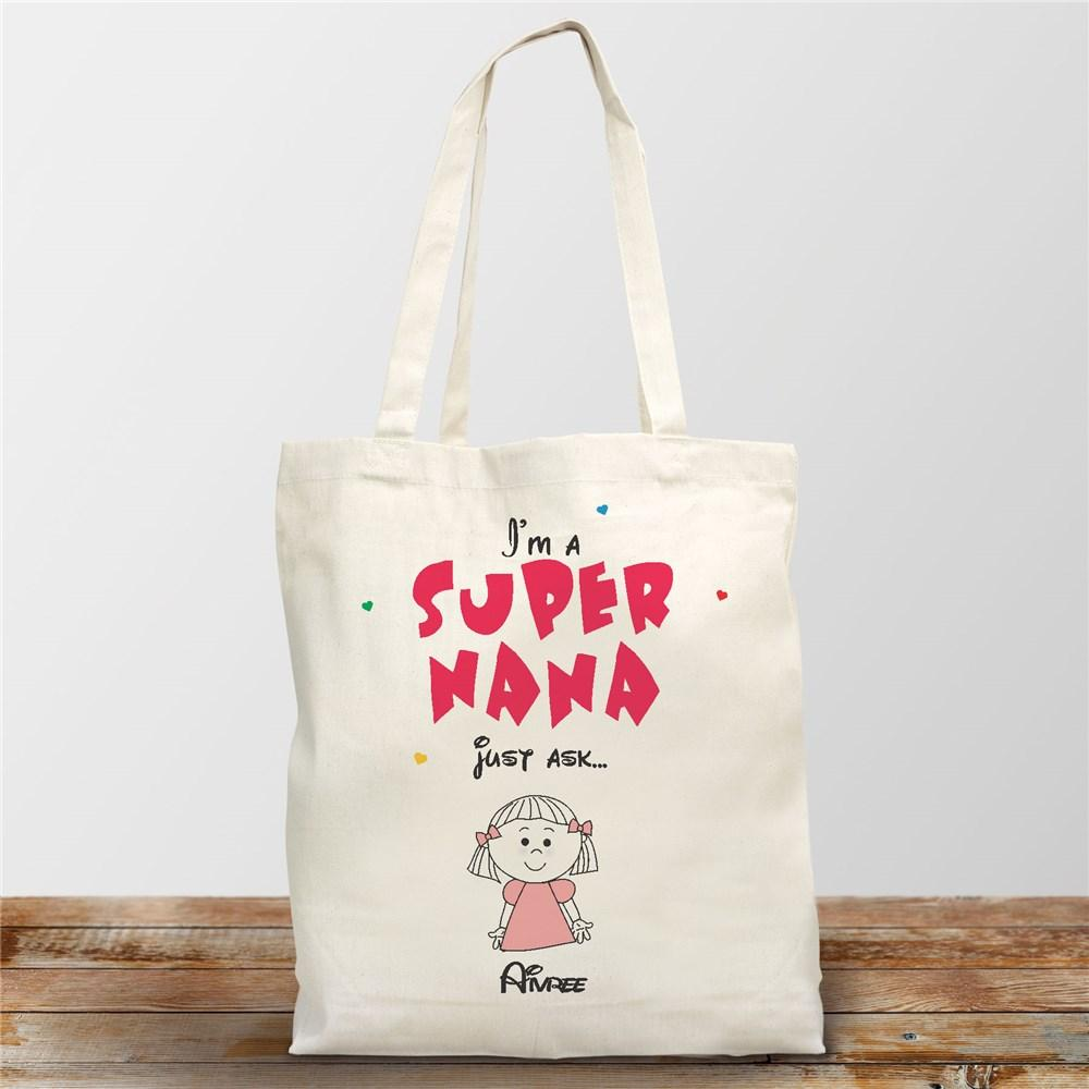 Personalized Super Grandma Canvas Tote Bag