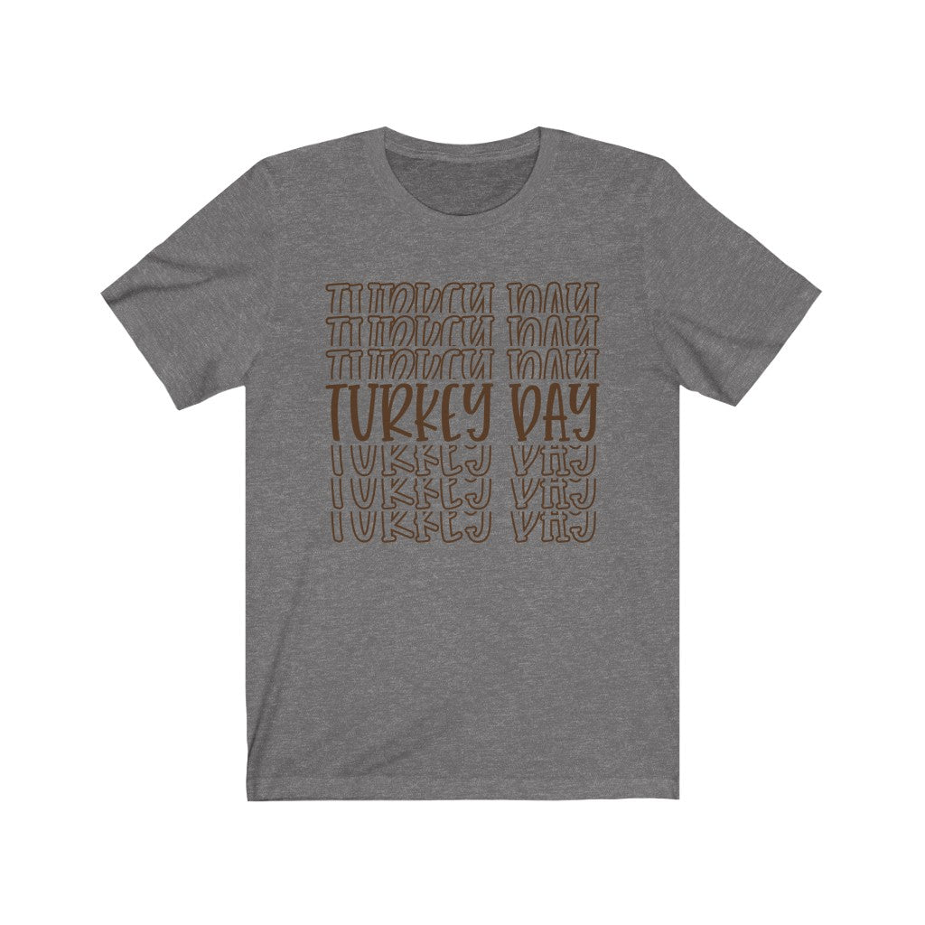 Turkey Day Word Mirror Thanksgiving T-Shirt - Short Sleeve Tee