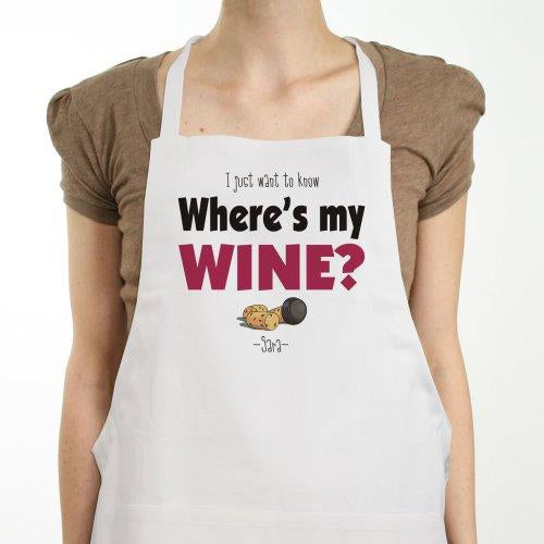 Personalized Where's My Wine Apron