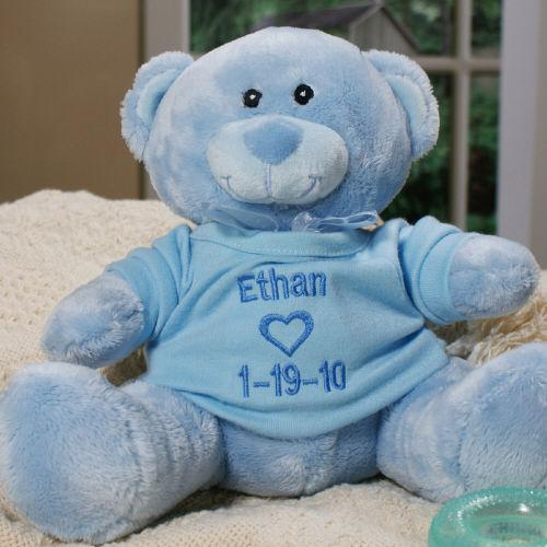 Personalized Embroidered New Baby Boy Blue Teddy Bear