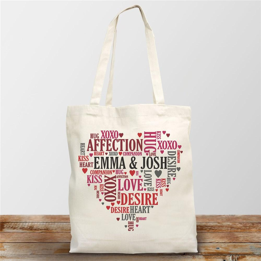 Personalized Couples Heart Tote Bag - Valentine's Day Gift